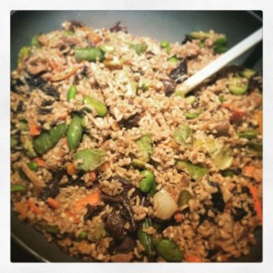 Légumes wok au sarrasin et riz complet